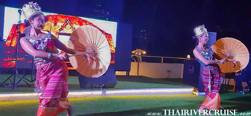 อลังการ งานโชว์ ความสวยงาม ของการแสดง โชว์ ศิปละ รำไทย ศิลปะฟ้อนร่ม ทางภาคเหนือ ของไทย ช่างวิจิตร สวยงาม บนเรือสำราญหรู อลังกา ครูซ