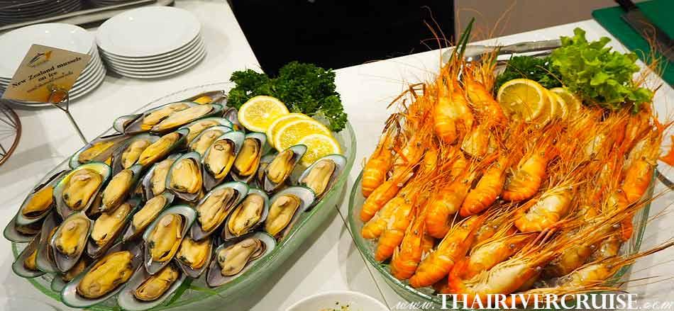 อลังกา ครูซ เพรียบพร้อม ด้วย บุฟเฟ่ต์ อาหาร ซีฟูด อาหารทะเล ดินเนอร์ เจ้าพระยา อิ่มอร่อย กับ เมนู หอย และ กุ้ง ได้เต็มที่ไม่อั้น บน เรือสำราญ ล่อง แม่น้ำเจ้าพระยา