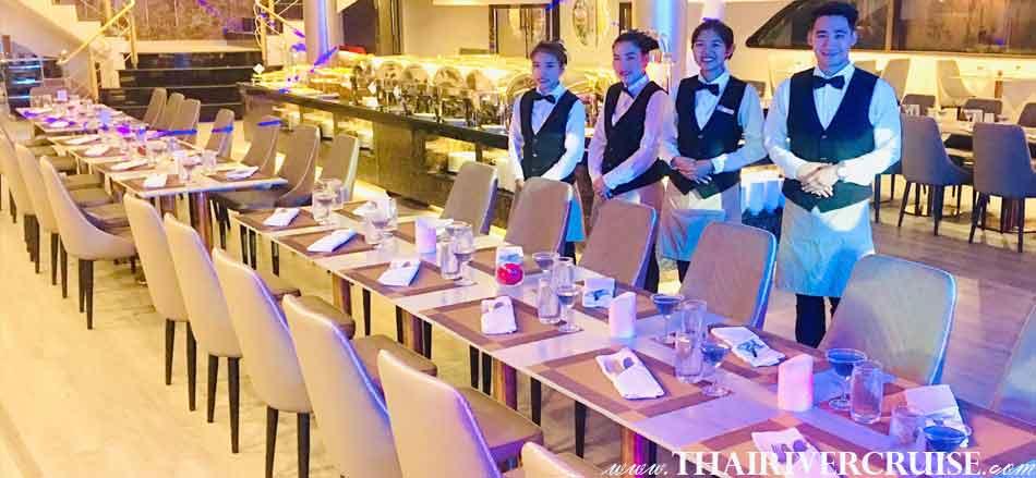 Friendly service on board Alangka Cruise Luxury Bangkok Dinner Cruise Chaophraya River