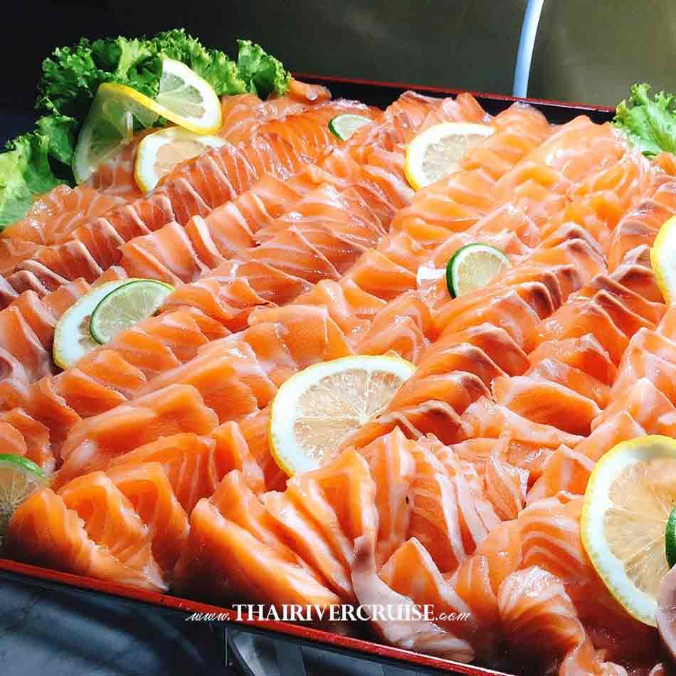 Salmon Japanese food on Alangka CruiseElegance Luxury Bangkok Dinner Cruise Chaophraya River,Thailand