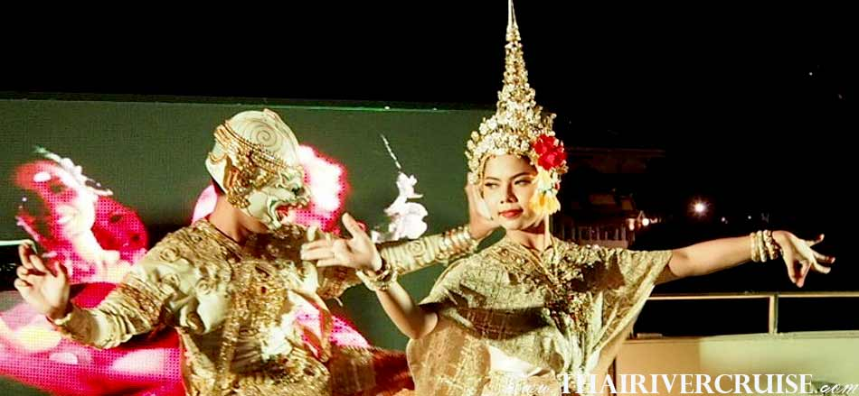 Amazing Mask Dance or Khon Show, The famous Thai traditional show on board, Alangka Cruise Luxury Bangkok Dinner Cruise Chaophraya River