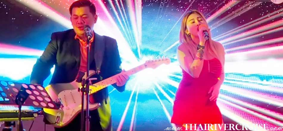 Professional English singer duo live band  on board, Alangka Cruise Luxury Bangkok Dinner Cruise Chaophraya River