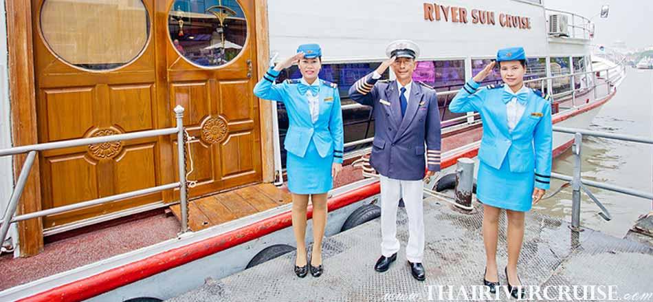 ยินดีต้อนรับสู่ ริเวอร์ ซัน ครูซ เรือสำราญ แม่น้ำเจ้าพระยา บุฟเฟ่ต์ นานาชาติ อาหารกลางวัน