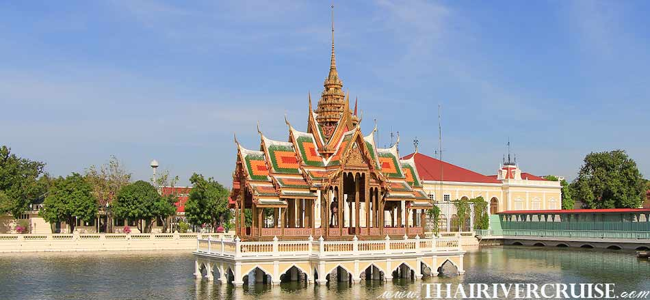 Bang Pa-In, visit the Summer Palace of King Rama V with its mixture of Thai, Chinese and Gothic architecture such as Aisawan Thiphya-At, Warophat Phiman, Wehart Chamrun,Grand Pearl Cruise Ayutthaya