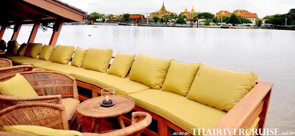 Grand Palace Bangkok with elegance seating and good view on board Best private luxury rice barge Chao phraya river cruises Bangkok Thailand