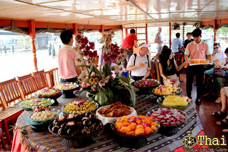 Welcome Aboard � Rice Barge Cruise � After visit Canal Trip already and then move to Rice Barge Cruise and served by Welcome Drink � Maithai Drink � with Thai Fruits Buffet onboard.