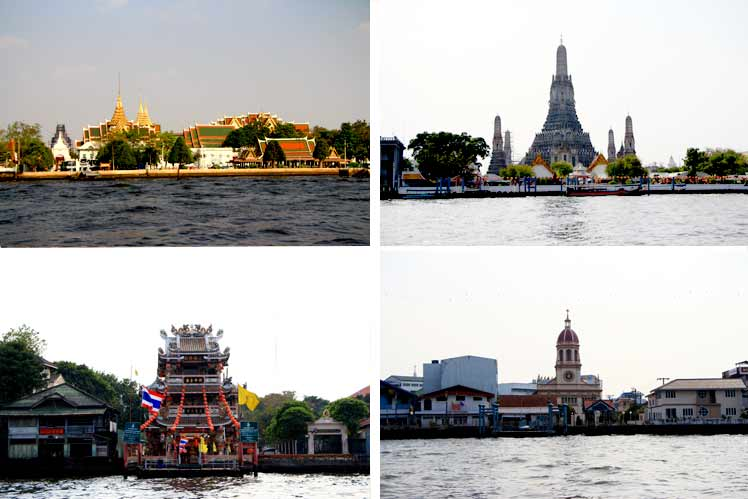 River Attraction Passing  : Rama 8 Bridge -   Thammasart University - Old Custom House - Memorial Bridge - Sant Crua Church - French Embassy - Portuguese Embassy � Phra Sumane Fort - Wat Kalayanamit, Wat Rakang Kositatram, Thai Old Royal Palace The Royal Grand Palace - Graceful Temple of Dawn or Wat Arun .