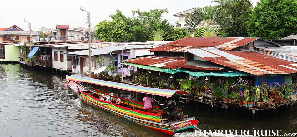 Best travel trip for all travelers during the COVID-19 pandemic Enjoy onboard Chaophraya longtail boat klong tour thonburi canal trip Chaophraya river Bangkok Thailand