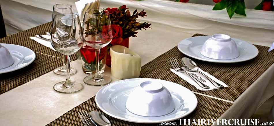 Beautiful table decoration on Boat Rentals Charters Private River Cruise in Bangkok Thailand
