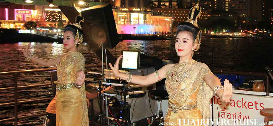 Enjoy to see entertainment by traditional Thai dance performance on board private dinner cruise Bangkok,Boat Rentals Charters Private River Cruise in Bangkok Thailand