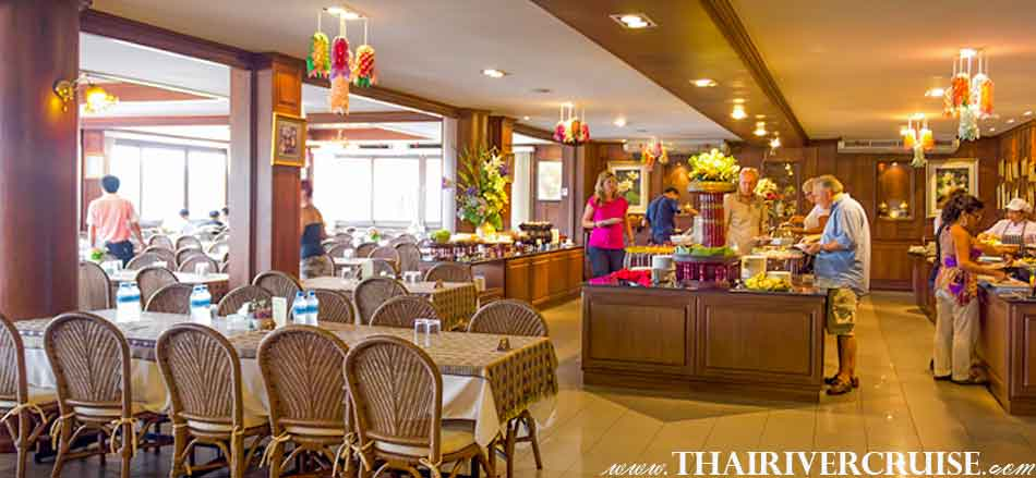 Enjoy delicious buffet lunch at Thai restaurant, Chao phraya river boat tour Bangkok with lunch