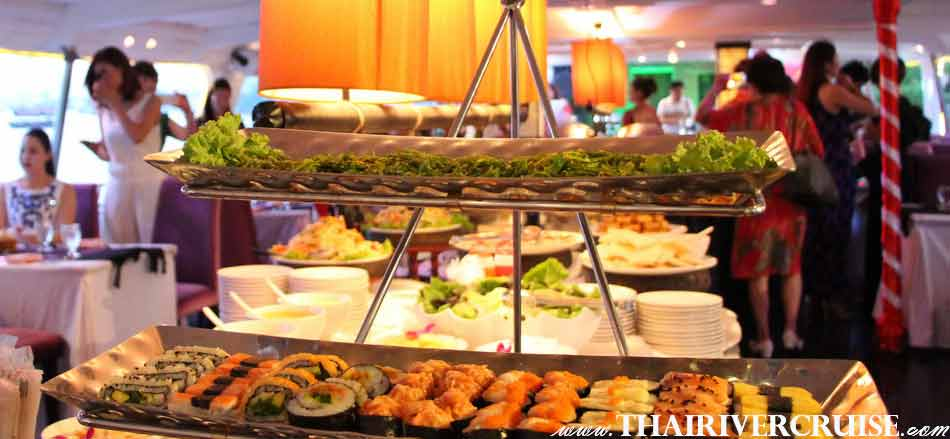 provide you a Superb Thai and International Buffet on Chaophraya Cruise and Grand Chaophraya Cruise Bangkok,Thailand