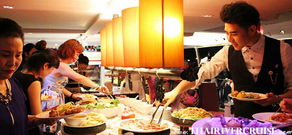 Delicious buffet food on board Chaophraya Cruise and Grand Chaophraya Cruise along Chaophraya river Bangkok Thailand.