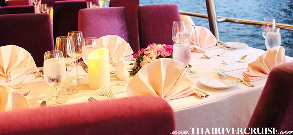 romance luxury seat open air romance on Chaopraya Cuise & Grand Chaophraya Cruise, luxury large elegance 5-stars dinner cruise Chaophraya river Bangkok Thailand
