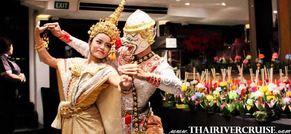 Entertainment on board by Thai classical dancing and live music pop dance style, Loi Krathong Festival Bangkok Chaophraya Cruise
