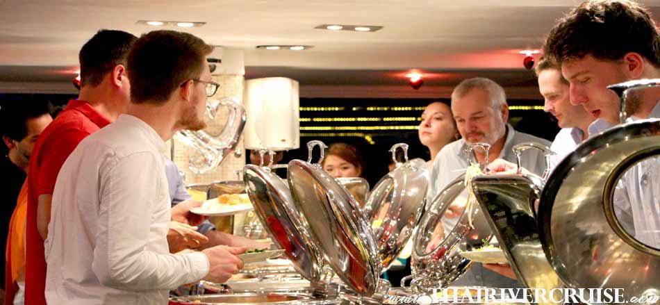Buffet Dinner on The Chaophraya Cruise Luxury 5 Star Cruise on Chaophraya River Bangkok,Thailand. Chaophraya Cruise New Year Dinner River Cruise