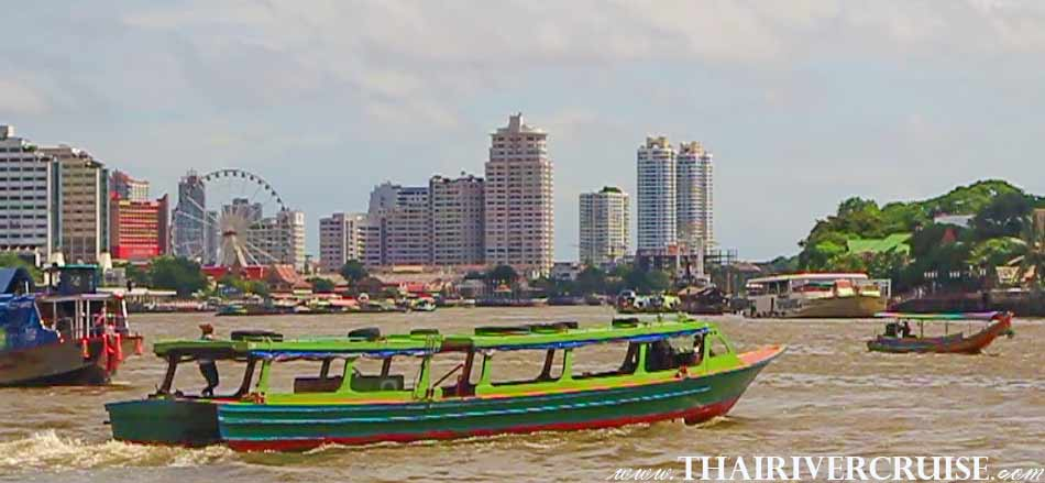 Chao Phraya Express Boat Tour Hire Rental River Trips Bangkok Thailand. Private boat trip on the river Bangkok Thailand