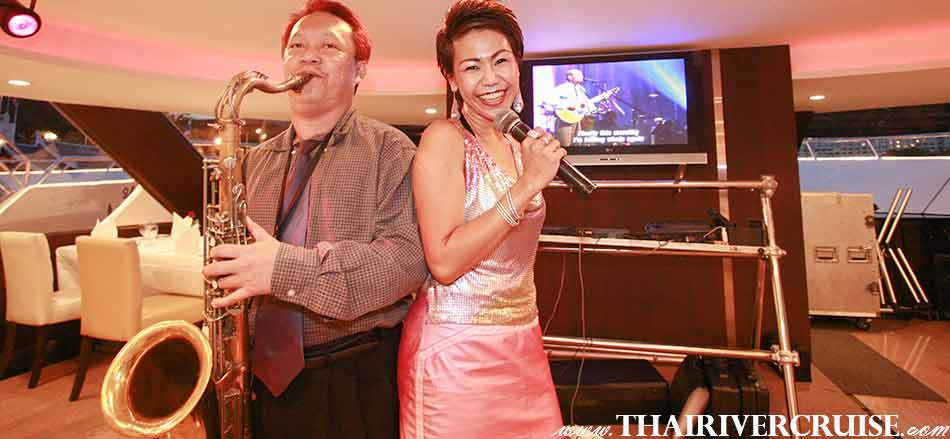 Entertainment onboard Chaophraya Princess Cruise by live music pop jazz music style.Celebrate New Year in Bangkok Thailand  New Year's Eve Dinner Chaophraya Princess Cruise