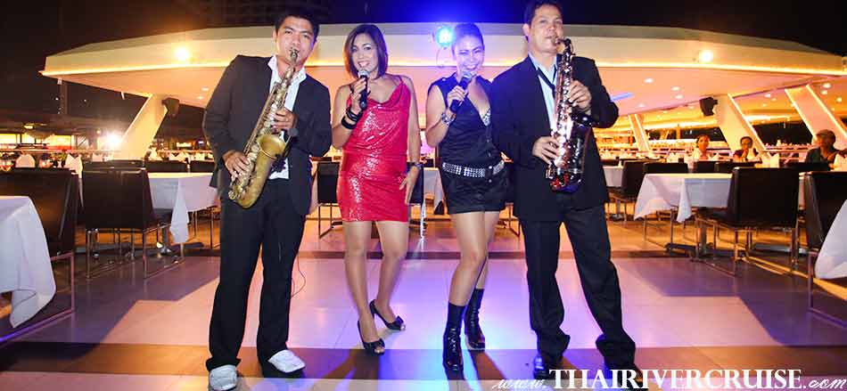 Entertainment onboard Chaophraya Princess Cruise by live music pop jazz music style. Celebrate New Year in Bangkok Thailand  New Year's Eve Dinner Chaophraya Princess Cruise