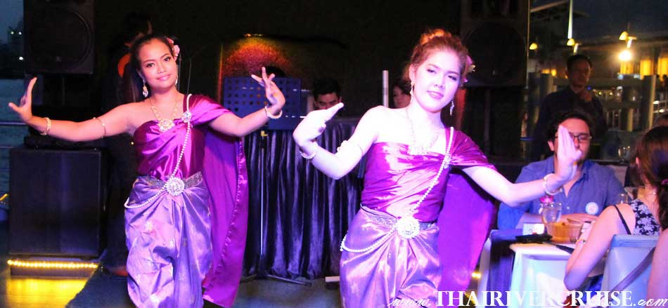 Entertainment on board by Thai classical dancing and live music pop dance style,Chaophraya Cruise New Year Dinner River Cruise