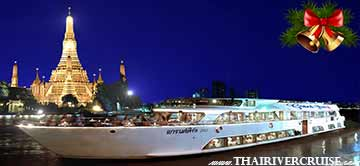 Christmas Eve Dinner Bangkok by River Cruise on Chaophraya River Bangkok Thailand  by Grand Pearl Cruise Thailand