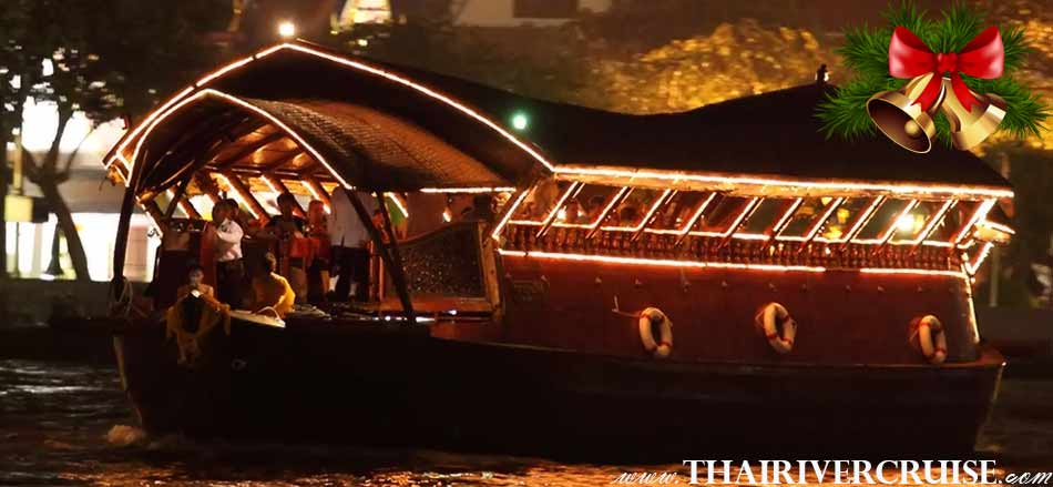 Places to Celebrate Christmas in Bangkok 2018 on the Chao Phraya River on Nava Cruise luxury traditional rice barge Chaophraya river Bangkok