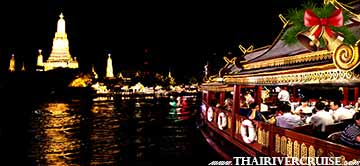 Christmas Eve Dinner Bangkok by River Cruise on Chaophraya River Bangkok Thailand  by Wanfah Cruise Thailand