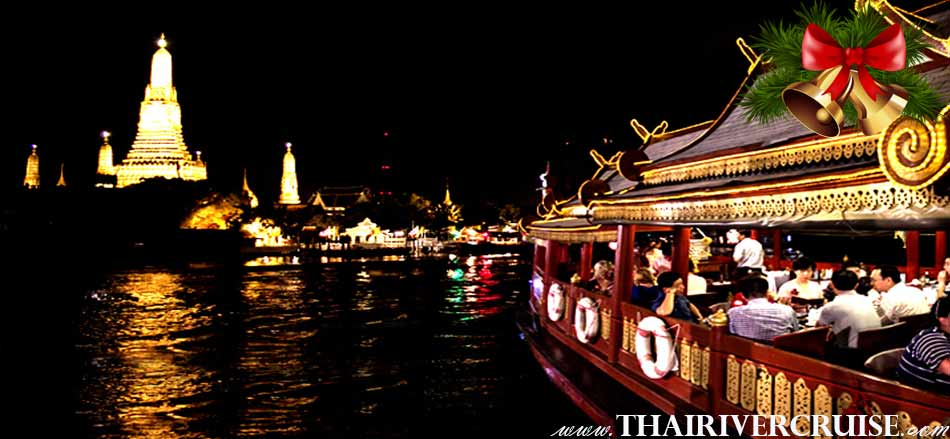 Christmas in Bangkok 2018 Wanfah Dinner Cruise cruising along Chaophraya river Bangkok on 24th December 2018,