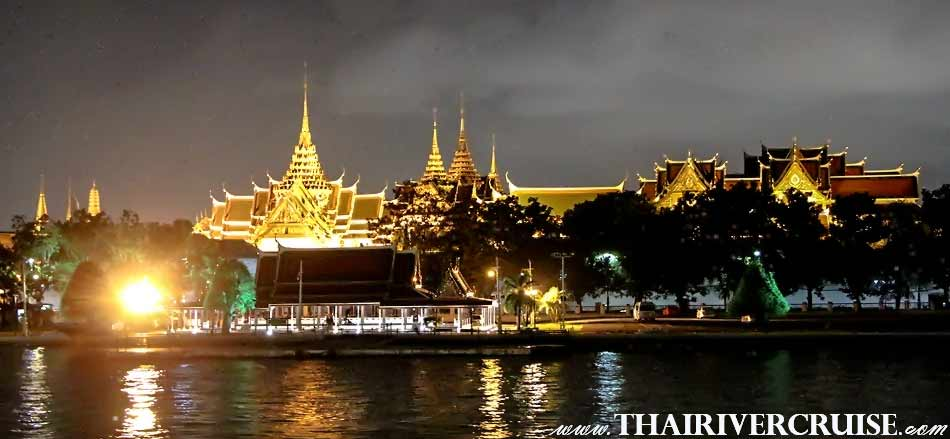 Grand Palace Bangkok, The Beautiful Night Scenery Along the Chaophraya River Bangkok Thailand