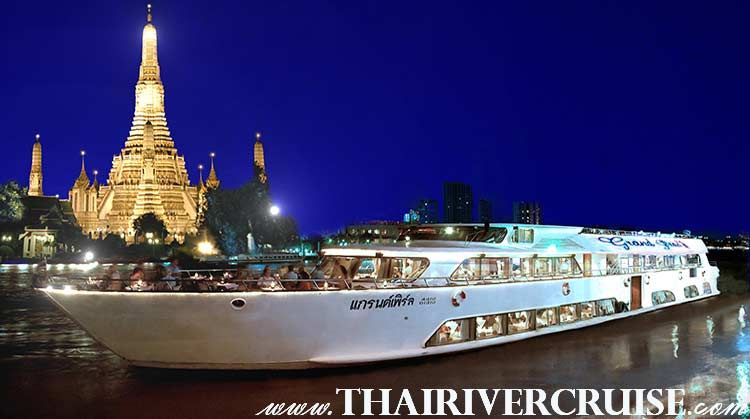 Grand Pearl Cruise Luxury 5 Star Bangkok Dinner Cruise Chaophraya River Thailand.