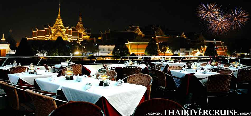 Welcome aboard Grand Pearl Cruise, luxury new year dinner cruise Chaophraya river Bangkok Thailand