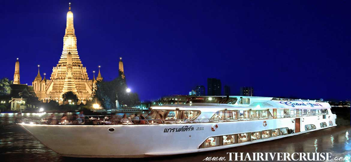 Bangkok Dinner Cruise on Grand Pearl Cruise Chaophraya River Cruise Luxury 5 Star Bangkok Dinner Cruise Chaophraya River Thailand.