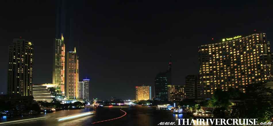 ความสวยงาม ประดับประดาแสงสี ริมน้ำเจ้าพระยา ไอคอนสยาม และ โรงแรมหรู 5 ดาว อาทิเช่น โรงแรมรอยัล ออคิด เชอราตัน โรงแรมมิลเลนเนียม ฮิลตัน โรงแรมแมนดาริน โอเรียลเต็ล โรงแรมเพนนินซูลา โรงแรมแชงกรี-ลา