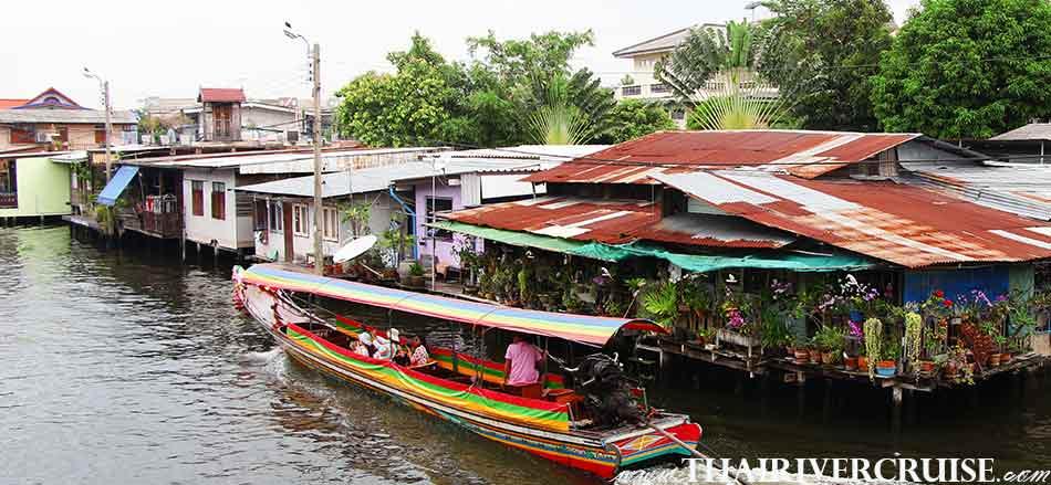 Enjoy onboard Chaophraya longtail boatklong tour thonburi canal tripChaophraya river Bangkok Thailand