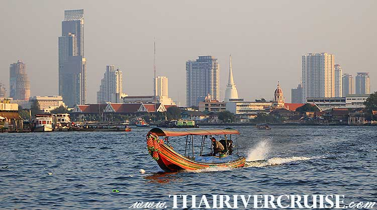 Long tails boat  Chaophraya River to Canal Tour Bangkok. pick you up at public river pier Bangkok and then cruising along Chao Phraya River and canals,