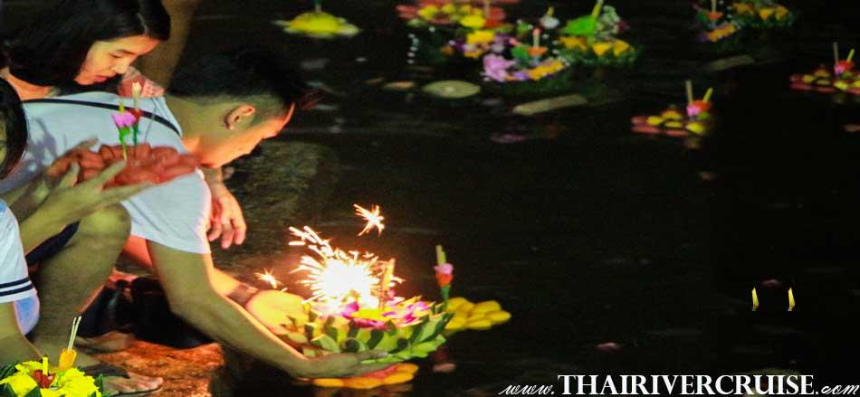 Loy Krathong Festival Chaophraya river Bangkok Thailand