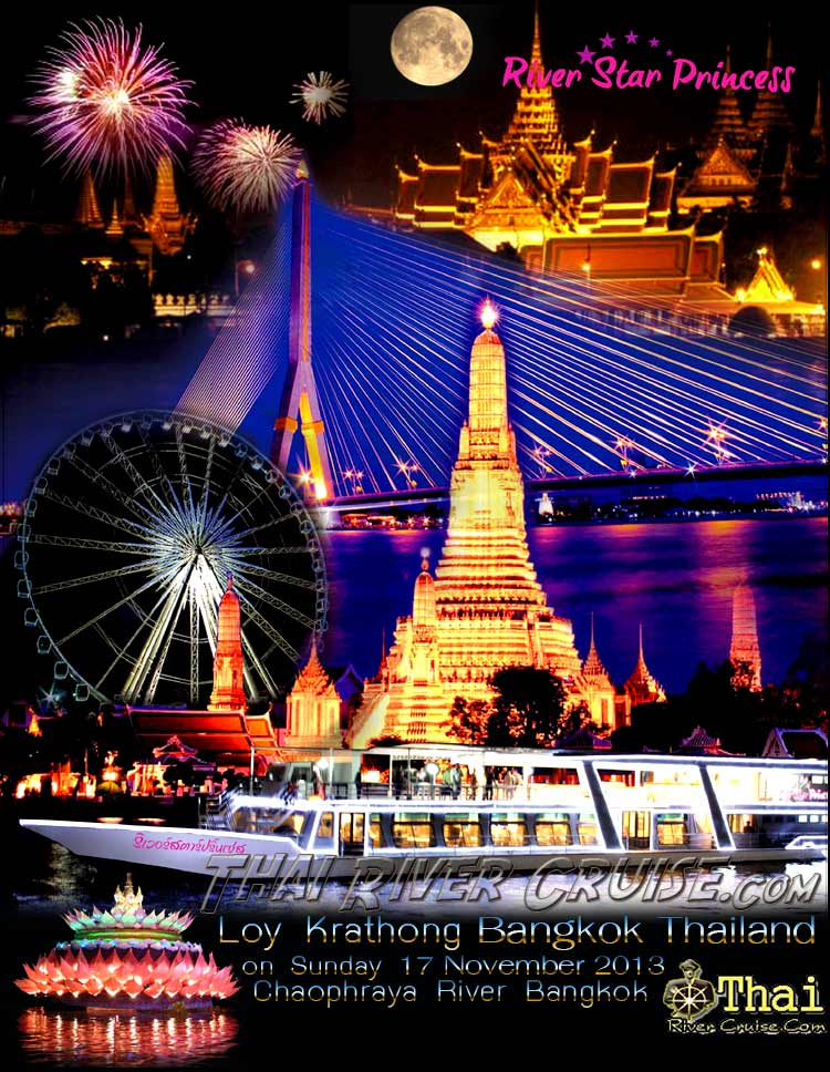 Loy Krathong Festival of Light on Full Moon Night in Bangkok Thailand