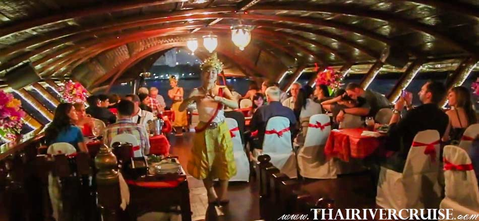 Enjoy to several non-intrusive short sets of Thai classical dancing are interspersed throughout the journey Loy Nava Dinner Cruise Bangkok