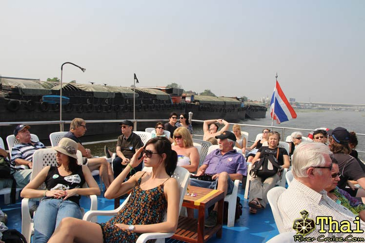 After lunch onboard finish you can relax outside of cruise at Sundeck, Bangkok Lunch Cruise