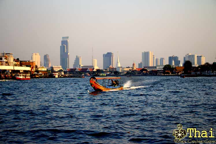 Chaophraya River Bangkok View before arrive Bangkok cruise pier.