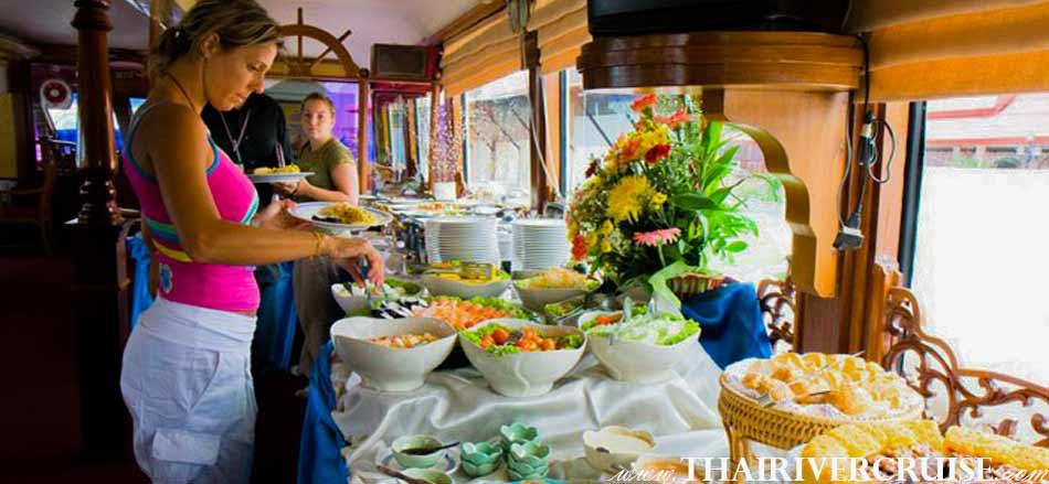 รือสำราญ แม่น้ำเจ้าพระยา ล่องเรือ ชมวิว พร้อม อาหารกลางวัน บุเฟ่ท์ นานาชาติ ชา กาแฟ