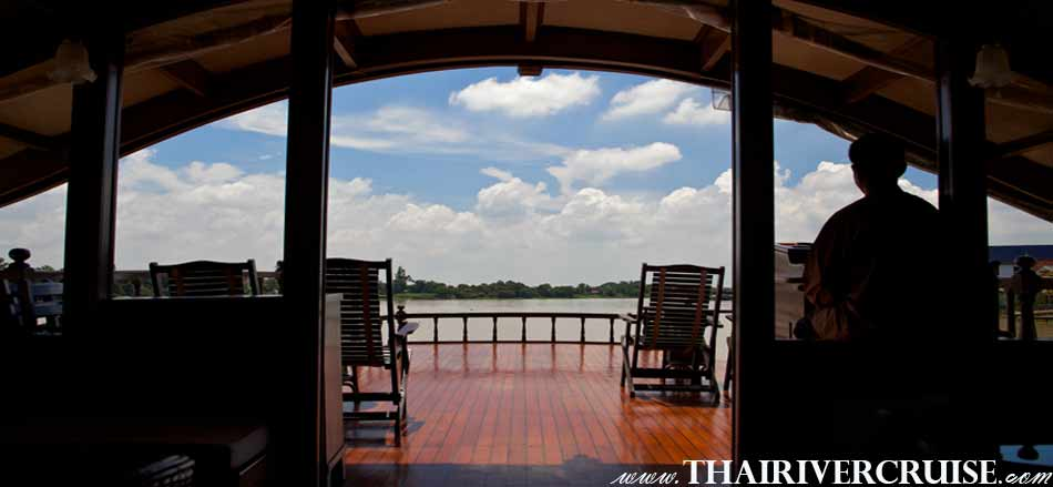 "Welcome aboard "" Mekhaha Cruise "" luxury traditional rice barge cruise Chao Phraya River Bangkok Thailand"