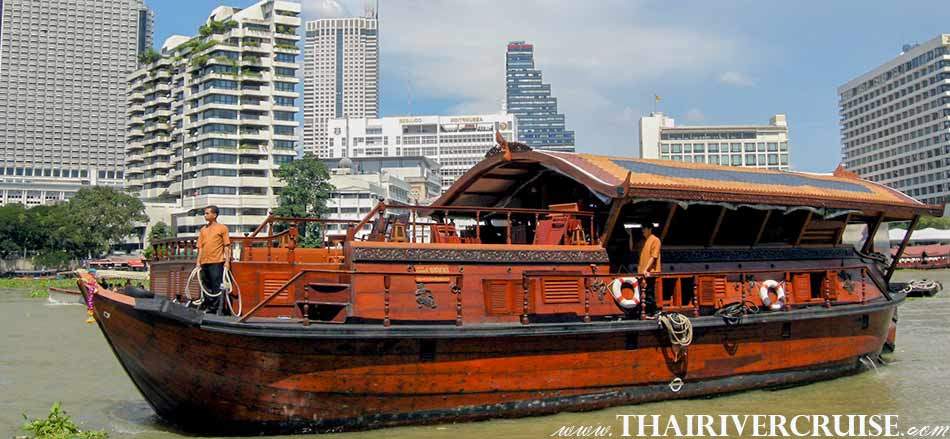 Mekhala Cruise, luxury traditional rice barge cruise Chao Phraya River Cruise between Bangkok to Ayutthaya and Ayutthaya to Bangkok Thailand