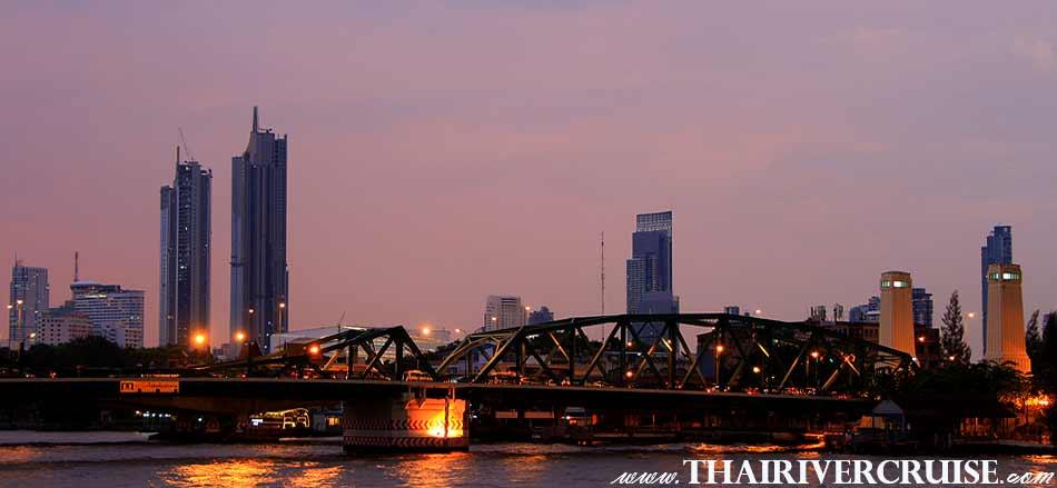 The Memorial Bridge Bangkok Sunset View of Chao Phraya river,Thailand