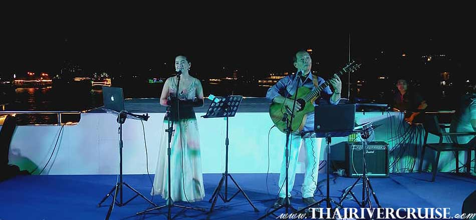 Live Band Music on Top desk of  Meridian Alangka Cruise Luxury Bangkok Dinner Cruise Chaophraya River