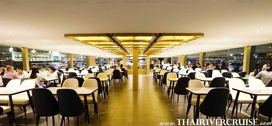 Inside air conditioned floor of Meridian Alangka Cruise Luxury Bangkok Dinner Cruise Chaophraya River