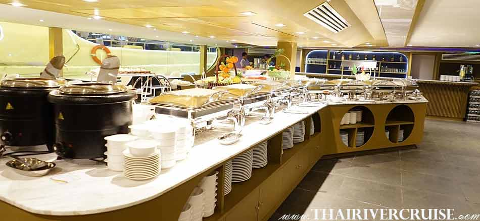 Shrimp on ice in Seafood buffet line of Meridian Alangka Cruise Luxury Bangkok Dinner Cruise Chaophraya River