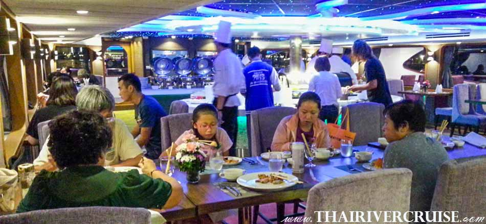 Inside of Wonderful Pearl Cruise, luxury large elegance 5-stars dinner cruise Chaophraya river Bangkok Thailand