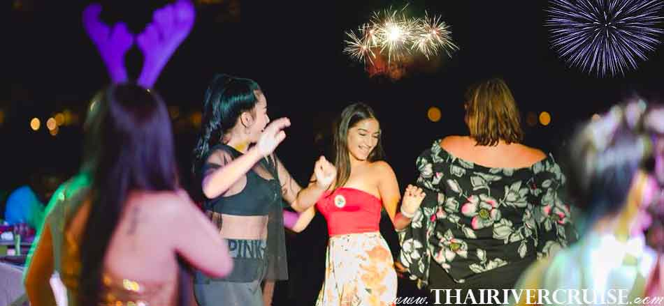 Enjoy to Fast Dance Song by Singer on board NYE Dinner Cruise Bangkok New Year Eve Countdown Fireworks Thailand