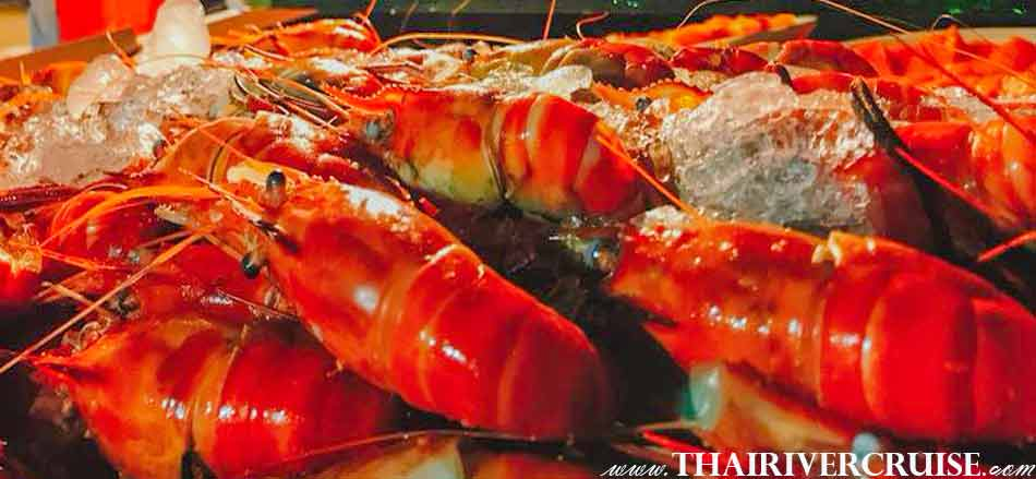 Delicious Dinner Buffet & Seafood with Open Bar Free flow draft beer, Wine, Whiskey and Soft Drink Thai-International buffet& seafood (Salmon sachimi,River prawns on ice,Stir fried squid,Stir fried spicy mussels etc.),NYE Dinner Cruise Bangkok New Year Eve Countdown Fireworks Thailand